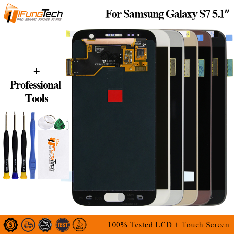 Amoled For SAMSUNG <font><b>Galaxy</b></font> <font><b>S7</b></font> G930 <font><b>G930F</b></font> Lcd <font><b>Display</b></font> Touch Screen Digitizer Assembly Original For <font><b>S7</b></font> Lcd with Frame image