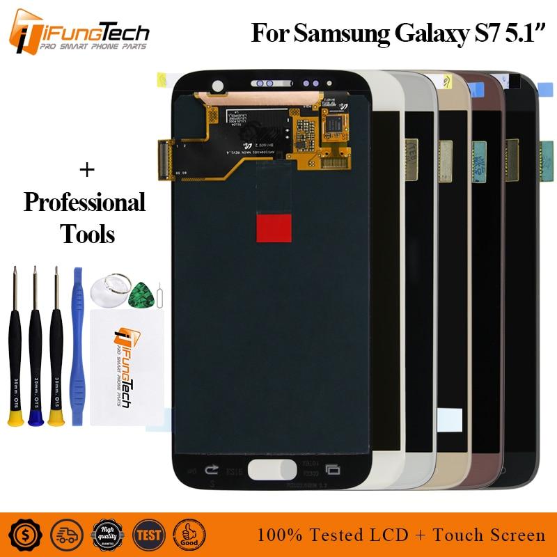 Amoled pour SAMSUNG Galaxy S7 G930 G930F Lcd écran tactile numériseur assemblage Original pour S7 Lcd avec cadre