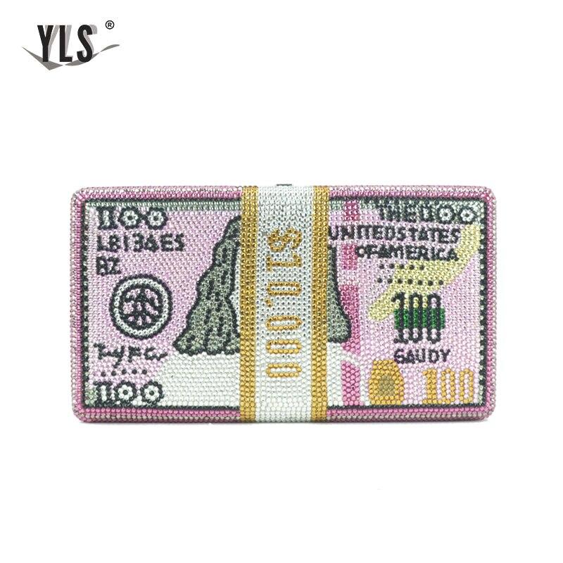 YLS ייחודי עיצוב USD $100 דולרים כסף מצמד נשים קריסטל יהלומי סלבריטאים ערב שקיות יוקרה ורוד מסיבת ארנקי תיק