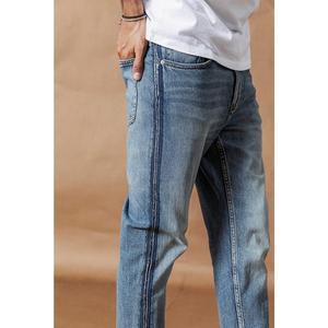 Image 3 - SIMWOOD ジーンズ男性ファッション生エッジサイドストライプファッションデニムズボンプラスサイズ 2019 秋冬新パンツ 190403