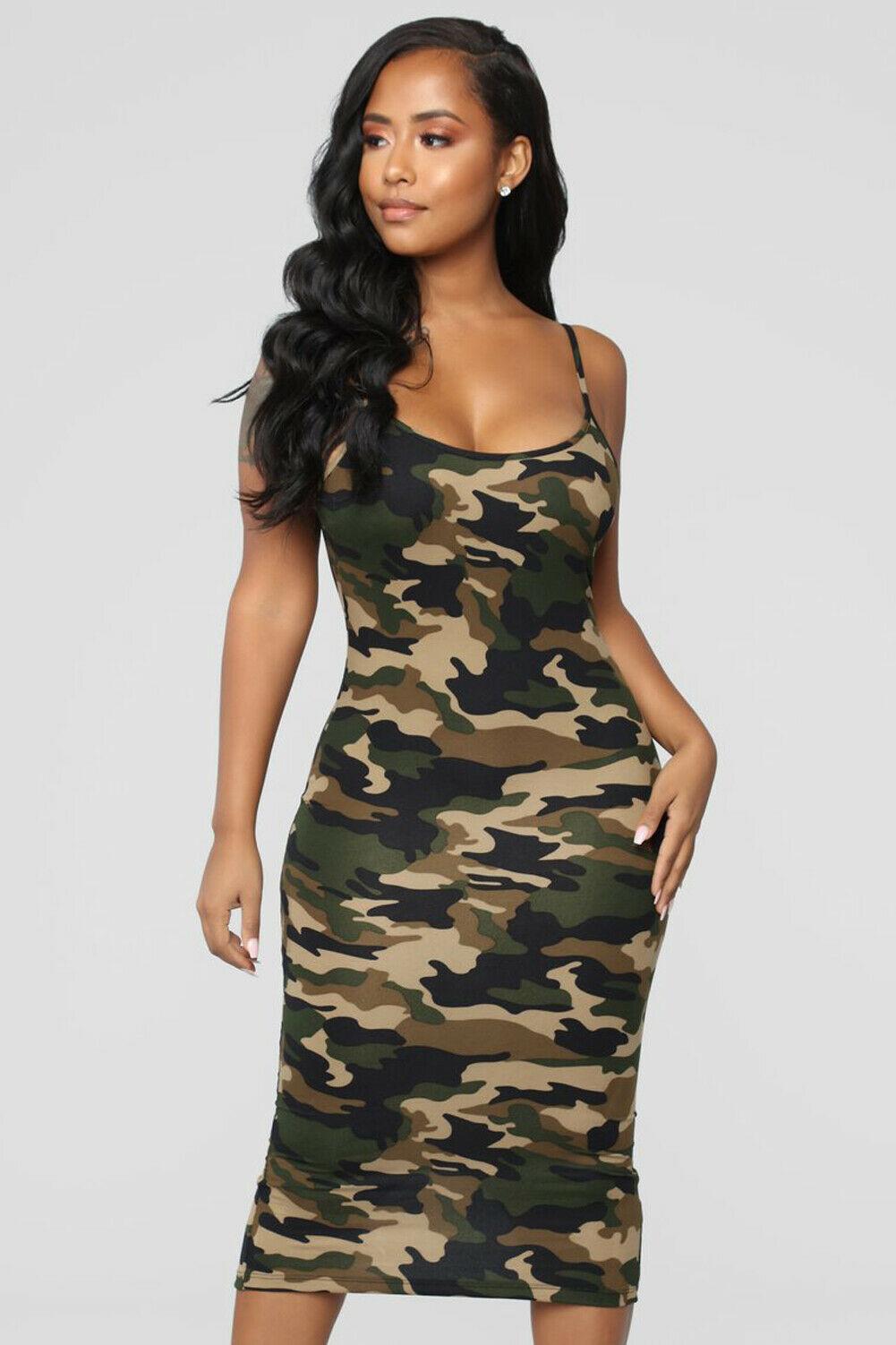 M//L Womens Ladies New Quality Fashion Army//Camouflage Print BODYCON DRESS S//M