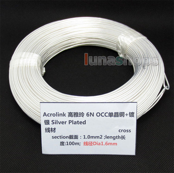 LN004376 100m Acrolink Silver Plated  OCC Signal  Wire Cable 1.0mm2 Dia:1.6mm For DIY