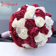 20CM de alta calidad de flores artificiales para dama de honor ramos de flores de espuma hechas a mano ramo de novia rosas de seda ramo de flores