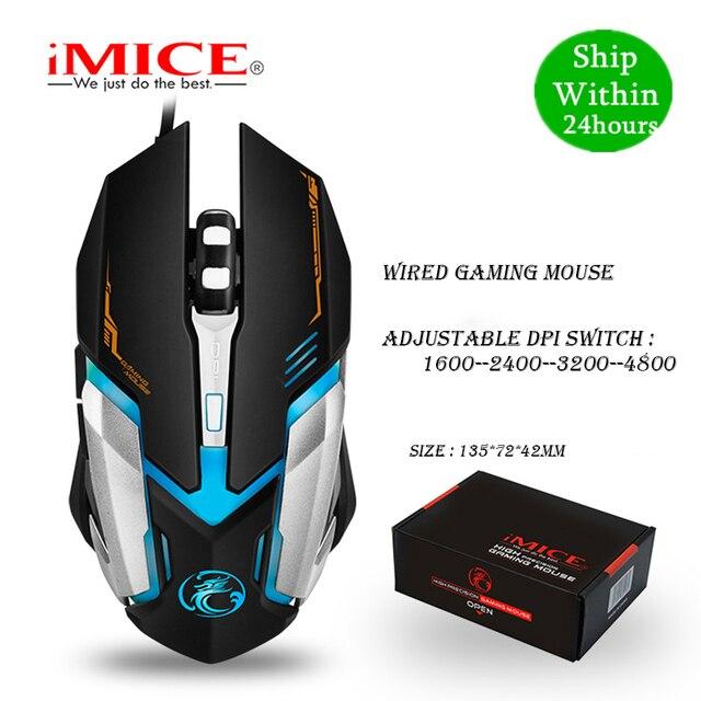 IMICE V6 السلكية الألعاب ماوس usb ماوس بصري 6 أزرار جهاز كمبيوتر شخصي ماوس ألعاب الفئران 4800 ديسيبل متوحد الخواص ل Dota 2 لول لعبة
