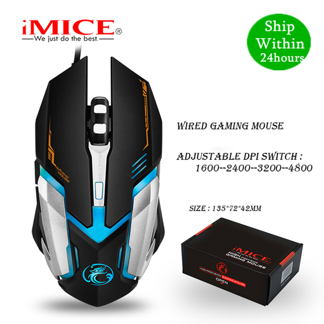 iMICE V6 Wired Gaming mouse USB Optical Mouse 6 Buttons PC Computer Mouse Gamer Mice 4800dpi For Dota 2 LOL Game