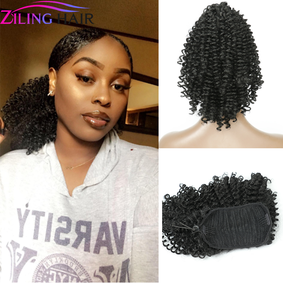 Synthetic Afro Puff False Hair Ponytail Extension With Clips Hairpiece Hair Afro Fake Pony Tail  Accessories Ziling Hair
