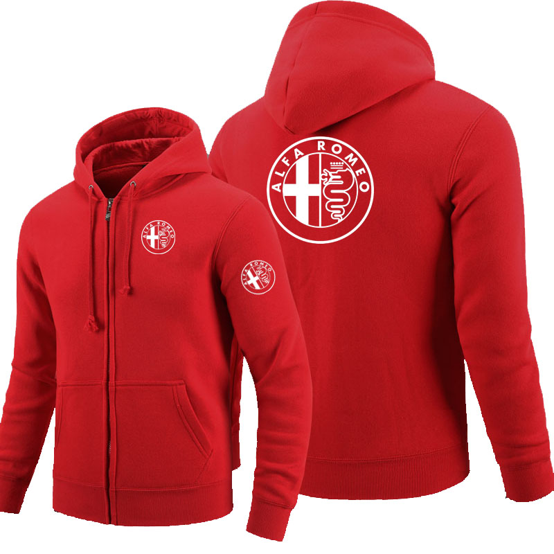Winter autumn long-sleeved zipper hoodies Alfa Romeo zipper sweatshirt clothes man solid coat tops jackets