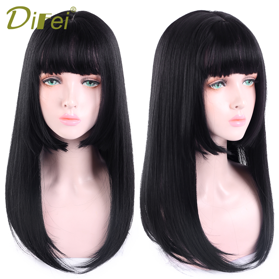 DIFEI 20 Inches Long Black Lolita Wigs With Bangs Heat Resistant Synthetic Straight Wigs For Women African American Fake Hair