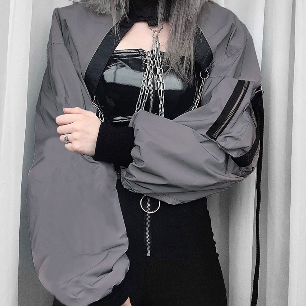 Rosetic Reflective Hoodie Women Tops Short Sweatshirt Zipper Chain Pink Rock Gothic Streetwear Hoodies Oversize Hip Hop Gray