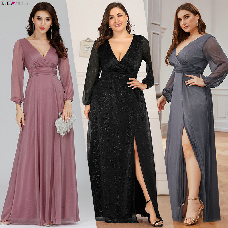 Plus Size Burgundy Prom Dresses Ever Pretty A-Line Deep V-Neck Side Split Long Sleeve Sexy Sparkle Formal Party Gowns Sukienki
