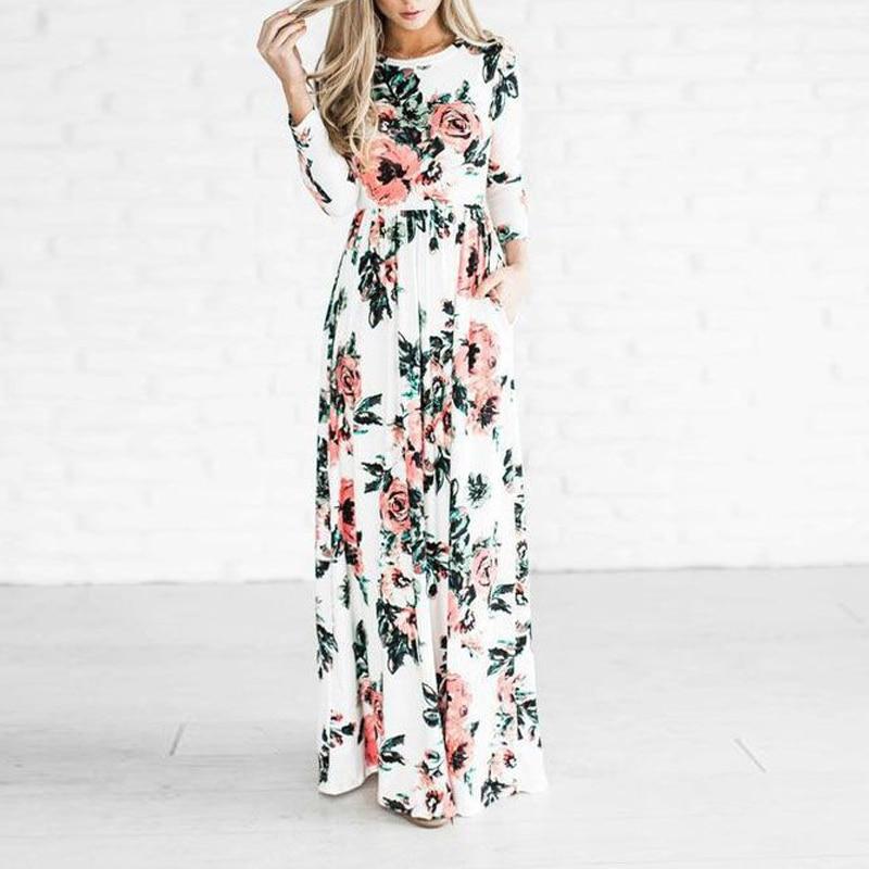 Новинка 2020, женское платье, весна-лето, макси платья, Модный цветочный принт, длинный/короткий рукав, повседневное женское платье, женская од...