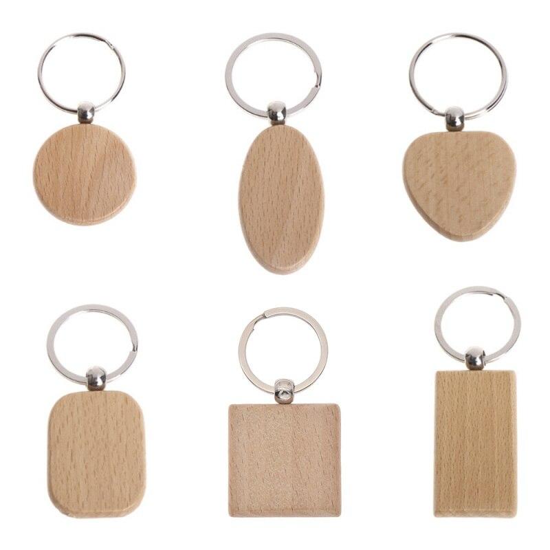 Пустая деревянная цепочка для ключей, 5 шт., деревянные брелки для ключей «сделай сам», бирки для ключей, рекламные подарки, кольцо для ключей...