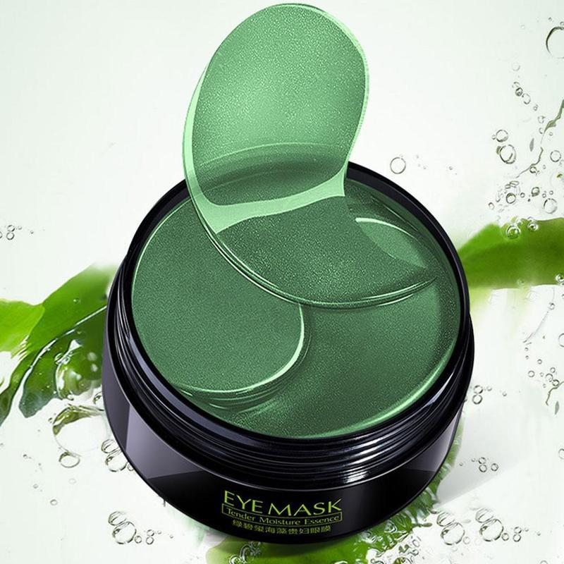 100% Nature Green Tea Essence Eye Mask Crystal Eyelid Drooping Patch Seaweed Anti Wrinkle Moisture Under Eye Dark Circle Remove