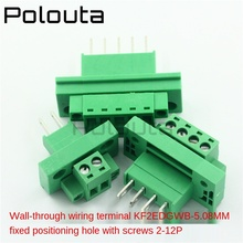 Computer Components Connectors KF2EDGWB-5.08 Through-wall Terminal Block Sets 2/3/4/8/9/10/12P Plug-in Type With Ear Screw Fixed