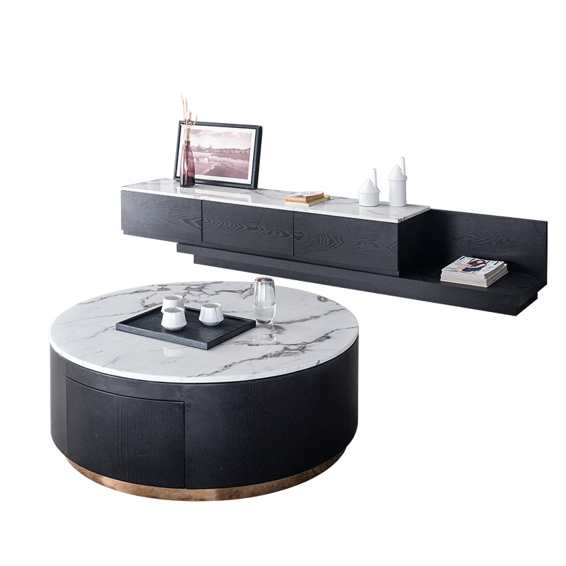 Light Luxury Marble Round Coffee Table Tv Cabinet Combination Small Apartment Post Modern Minimalist Retractable Floor Cabinet Coffee Tables Aliexpress