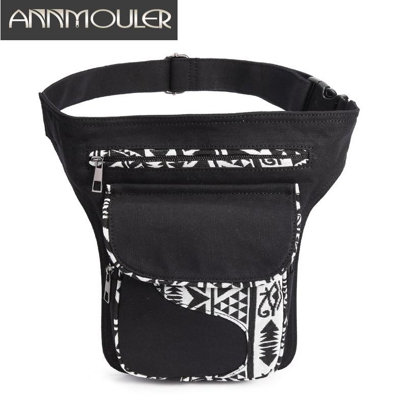 Annmouler Vintage Women Waist Bag Pack Large Capacity Fanny Pack Fabric Patchwork Phone Pouch Pocket Girls Adjustable Belt Bag