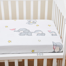 Newborn Baby Fitted Crib Sheets Cartoon Cute baby elephant Print Bed Sheet Baby Bed Mattress Covers for Unisex Baby Boys Girls