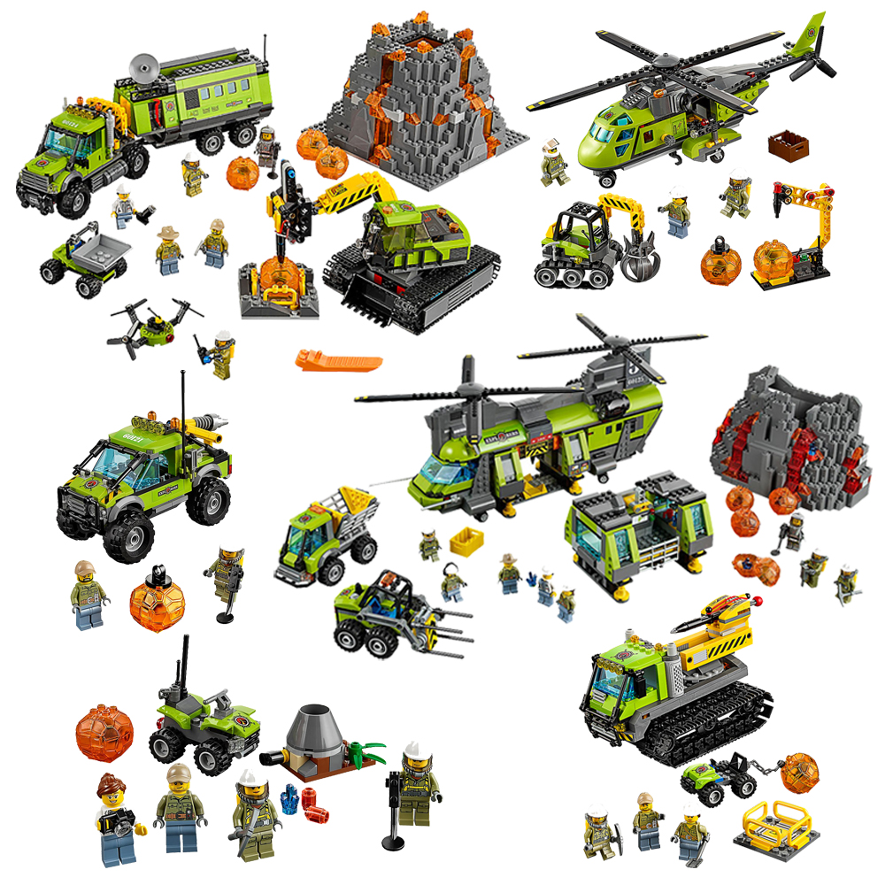 All Series Compatible Legoe City Volcano Explorers Building Blocks Toys For Childrens Bricks Model Kid Gift