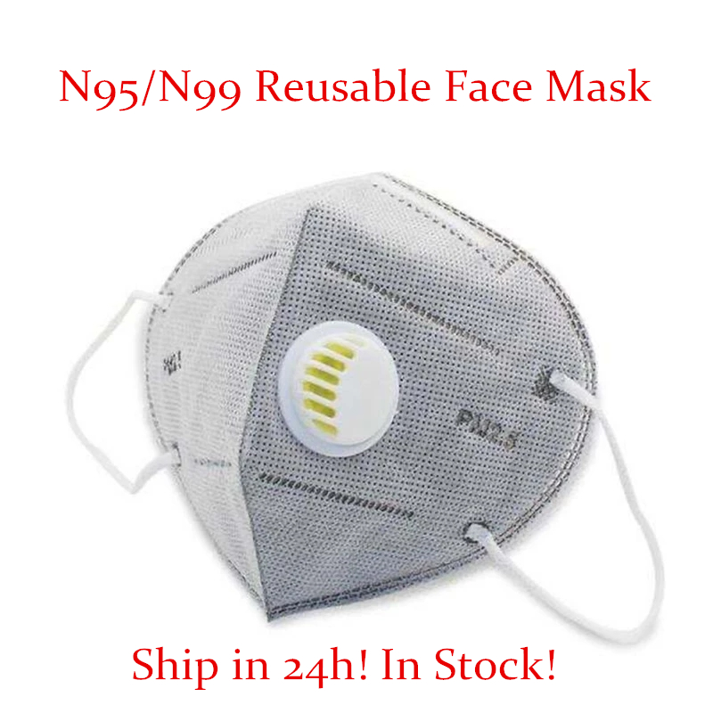 KN 95 Reusable Respirator Masks Valved Face Mask FFP 3 6 Layers Filter Bacterial Flu Protection Face Mask Mouth Dust Masks