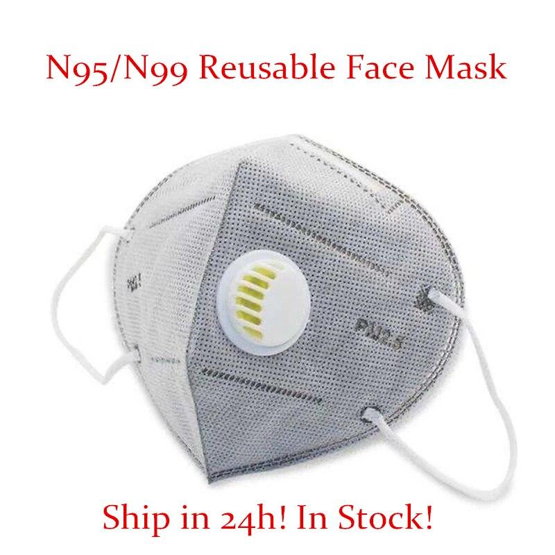 KN 95 Reusable Respirator Masks Valved Face Mask FFP 3 6 Layers Filter Bacterial Flu Protection Face Mask Mouth Dust Masks