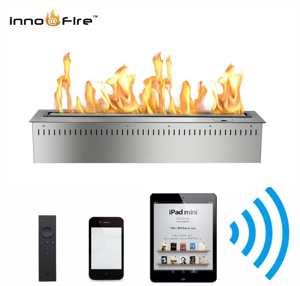 Hot Sale 24 Inches Wifi Automatic Intelligent Smart Bio Ethanol Fireplace Indoor Wall
