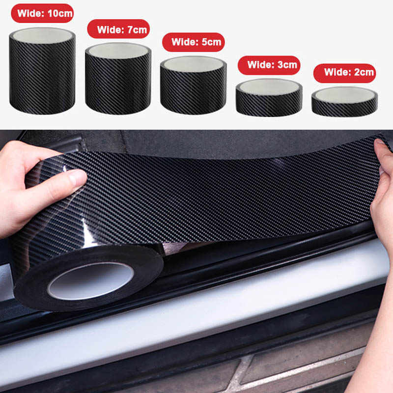 5D คาร์บอนไฟเบอร์ Nano กาวรถสติกเกอร์ป้องกันฟิล์มประตูขอบป้องกันรถประตู Sill Body สติกเกอร์ไวนิลอุปกรณ์เสริม