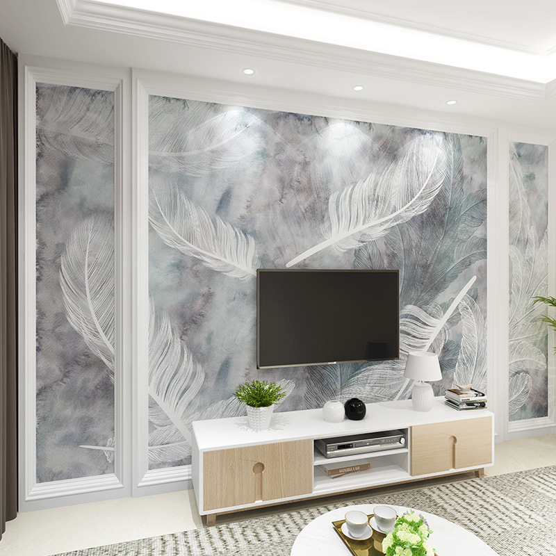 Modern Minimalist TV Backdrop Mural Film And Television Wallpaper Northern European-Style Living Room Bedroom Wallpaper Seamless