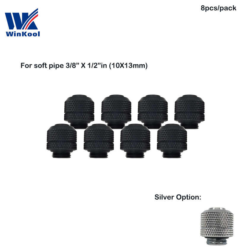 "Winkool (8 Pcs/lot) 3/8 ID X 1/2 ""OD (9.5X12.7 Mm Tabung) pendingin Air Fitting Compression G1/4 ""Benang"