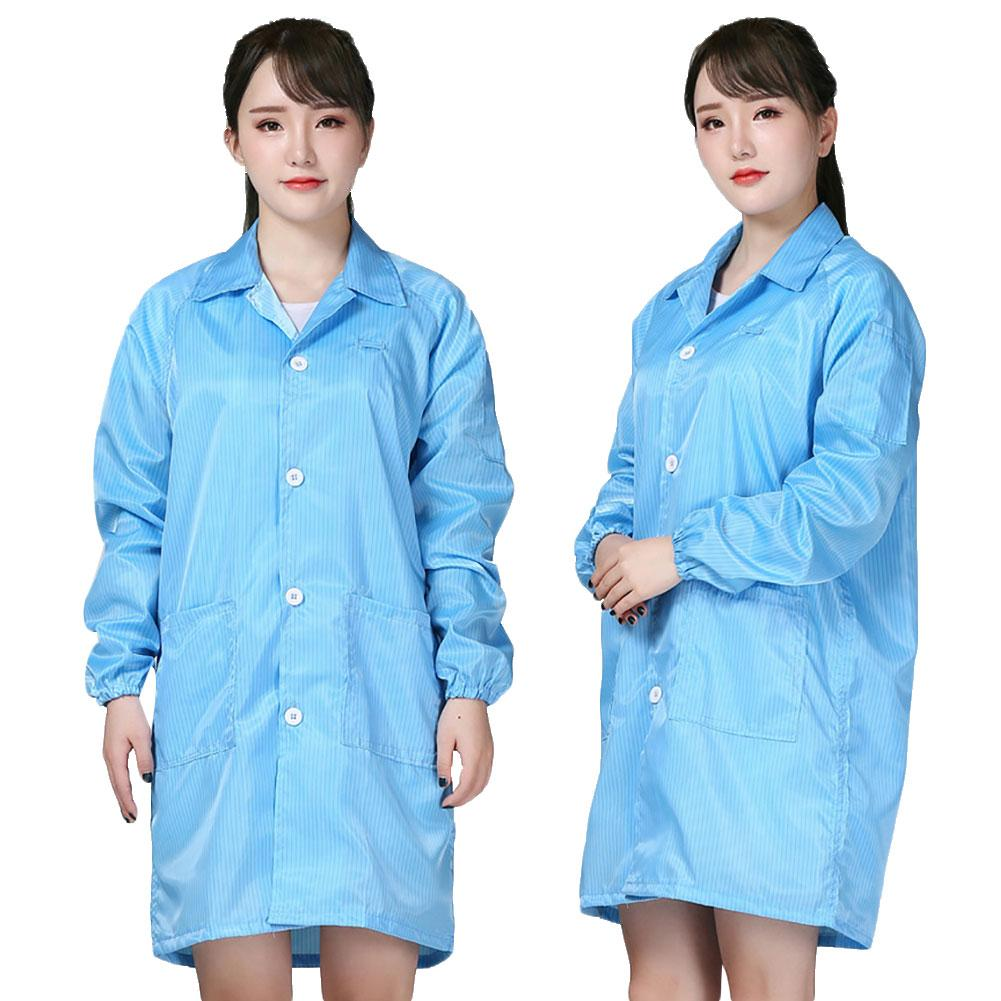 Unisex Stripe Washable Anti Static Dust Proof Protective Jacket Suit Work Clothes Wind And Dust Resistant Virus