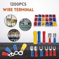 1200Pcs 전기 와이어 터미널 크림프 포트 커넥터 세트 모듬 된 절연 코드 핀 엔드 터미널 커넥터 스토리지 박스