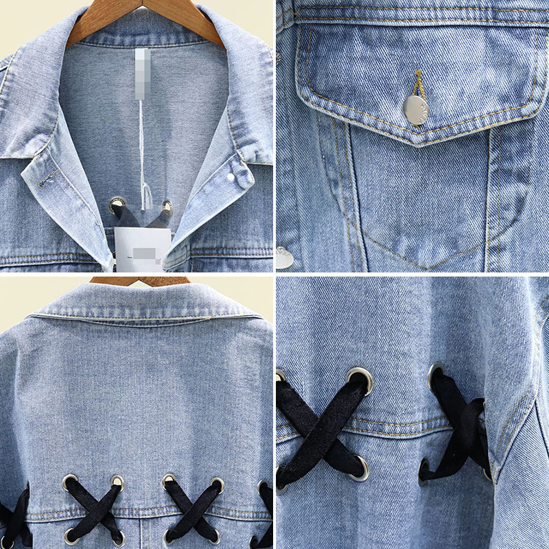 2020 Spring Autumn New Korean Loose Strap Denim Jacket Female BF Student Casual Jeans Coat and Jackets Womens Jean Coats Outwear