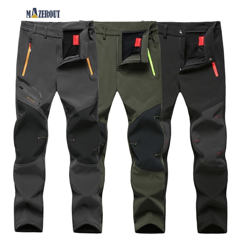 MAZEROUT Elastic Waterproof Pants Men Casual Winter Thick Warm Fleece Shark Skin Trousers Male Windbreaker L-9XL Mens Pants Belt