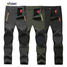MAZEROUT Elastic Waterproof Pants Men Casual Winter Thick Warm Fleece Shark Skin Trousers Male Windbreaker L-9XL Mens Belt