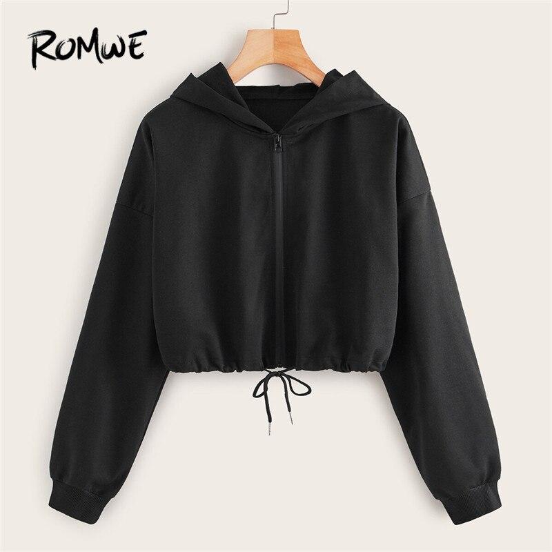 ROMWE Solid Drawstring Hem Zip-Up Hoodies Women Clothes Fall 2019 Long Sleeve Crop Top Ladies Casual Black Sweatshirt