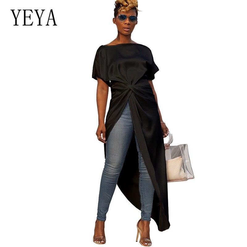 YEYA High-Split Maxi Sexy Women Solid Casual Party Dresses Clubwear White Black Elegant Long Dress Summer Irregular
