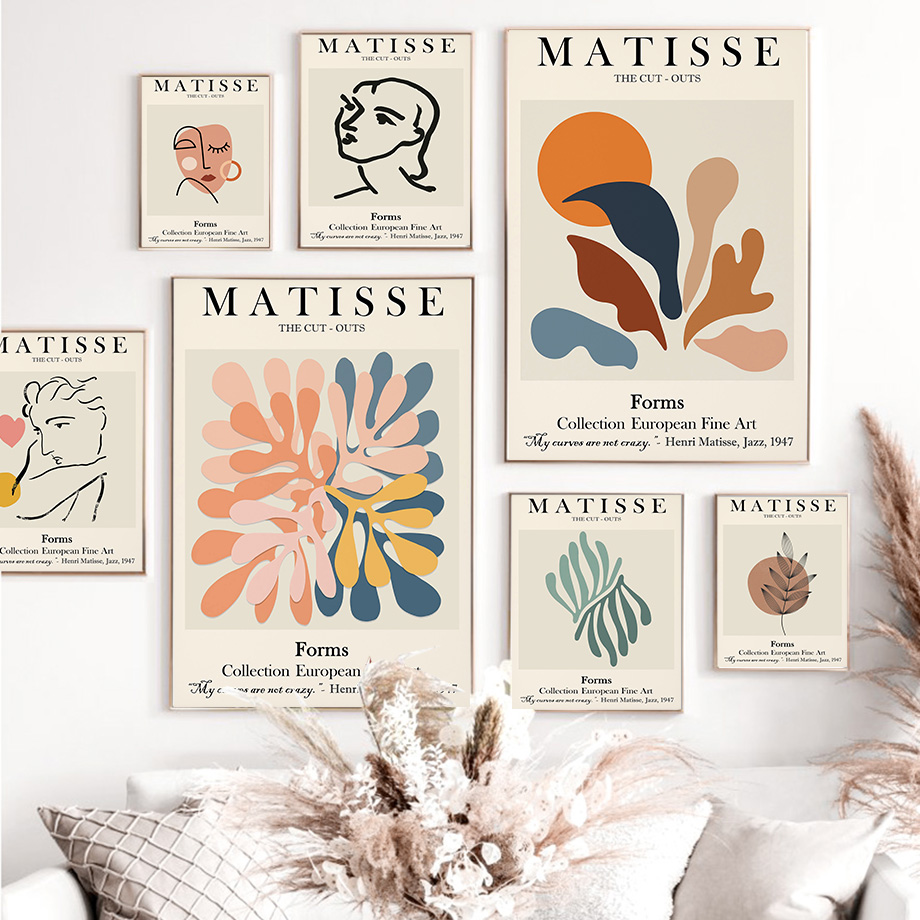 Abstract Matisse Line Face Coral Leaves Wall Art Canvas Painting Nordic Posters And Prints Wall Pictures For Living Room Decor