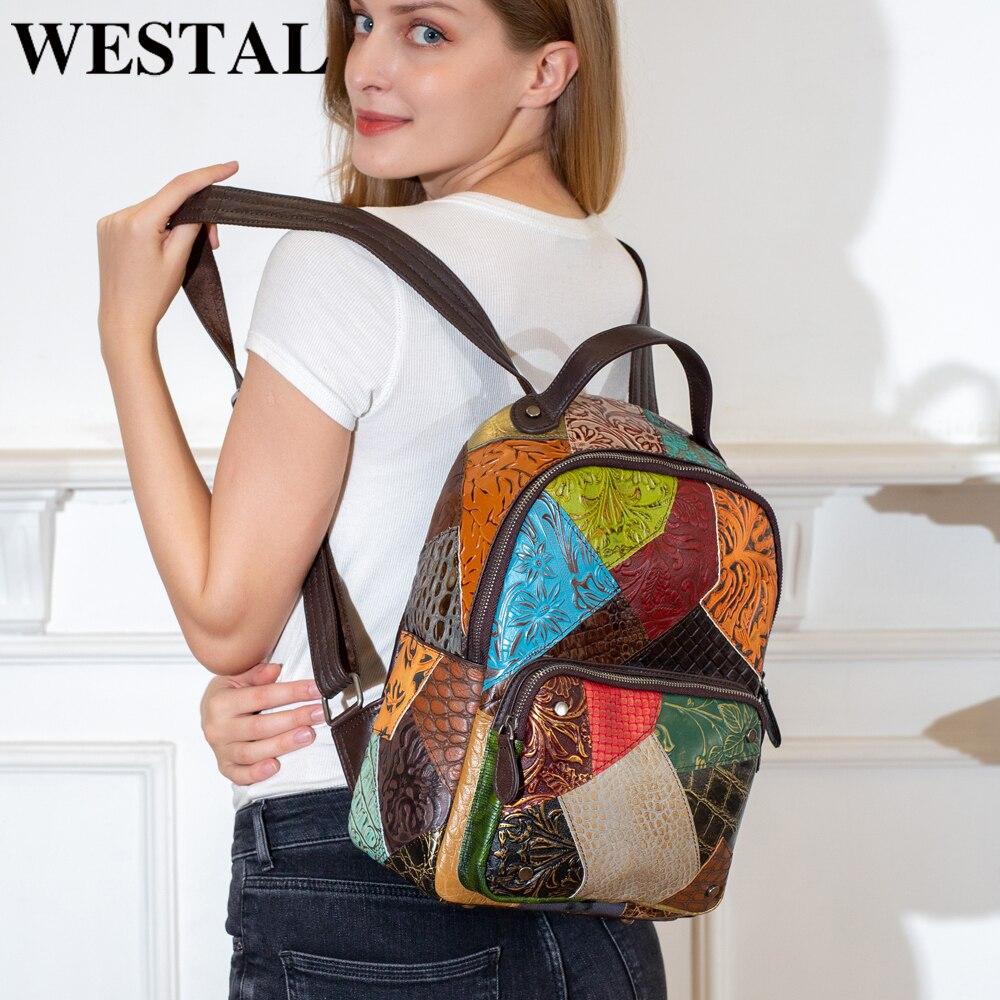 WESTAL femmes sacs à dos en cuir véritable Vintage sac d'école pour filles femme sac à dos pour ordinateur portable Patchwork voyage sac à dos sac à dos