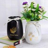 Черная белая стеклянная ваза, креативные листья, Современное украшение дома, ваза, Настольная технология, орнамент, ваза