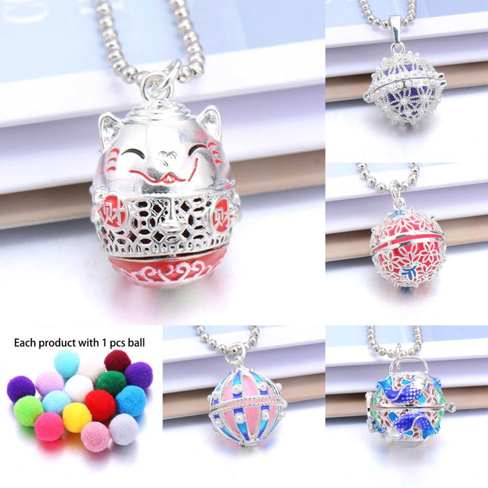 High quality Aromatherapy Necklaces Chinese style Lucky Cat open locket Aroma Diffuser Necklace Essential Oils perfume necklace