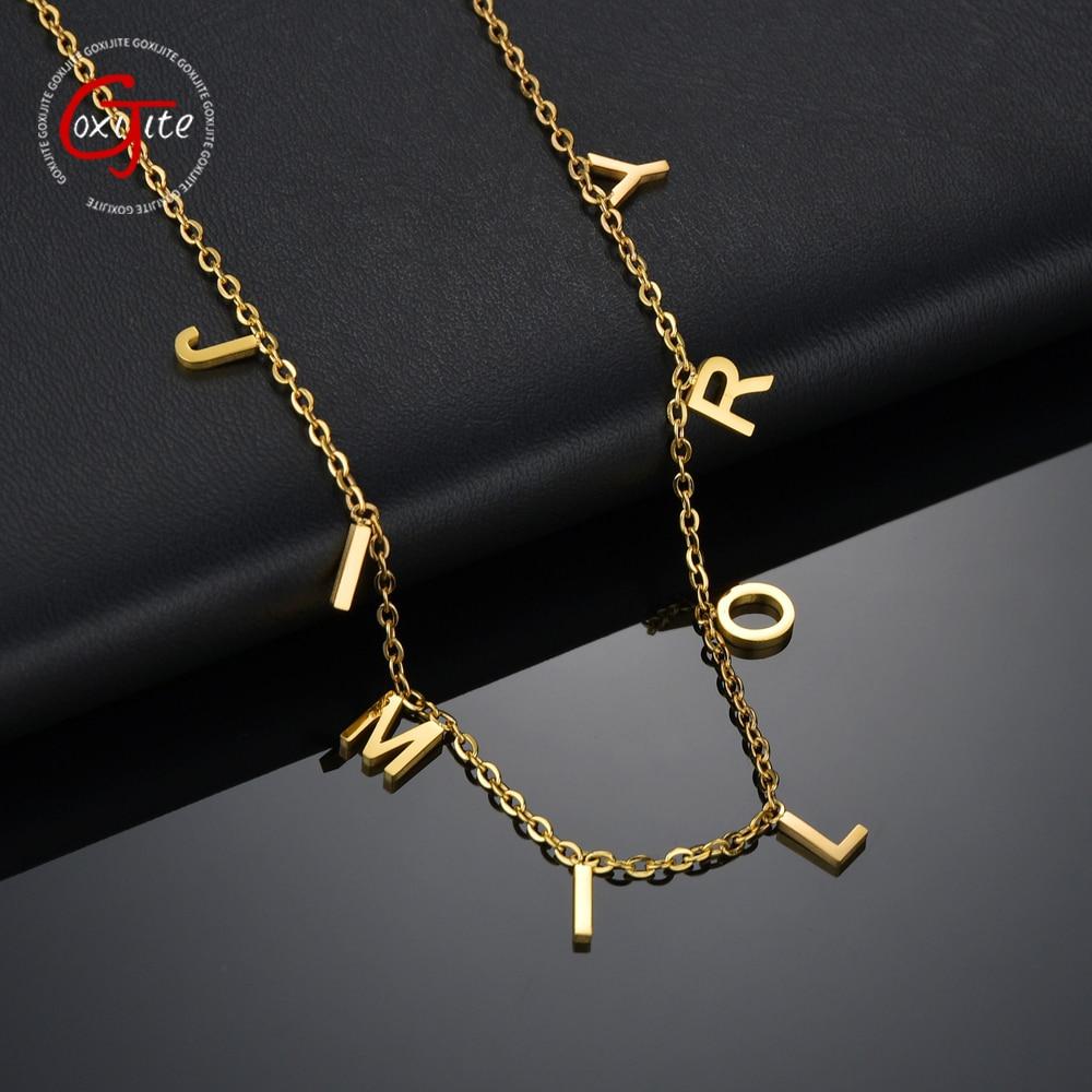 Модное ожерелье Goxijite с именем и буквами Чокеры для женщин из нержавеющей стали золотые буквы