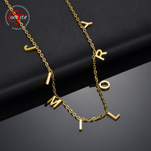 Goxijite – collier ras de cou avec lettres de nom pour femmes, en acier inoxydable, doré, pendentif avec initiales, cadeau