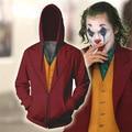 DC Joker Arthur Fleck Joaquin Phoenix Hoodie Cosplay 3D Druck Jacke Mantel Mit Kapuze rot jacke Zipper Sweatshirt Kostüm