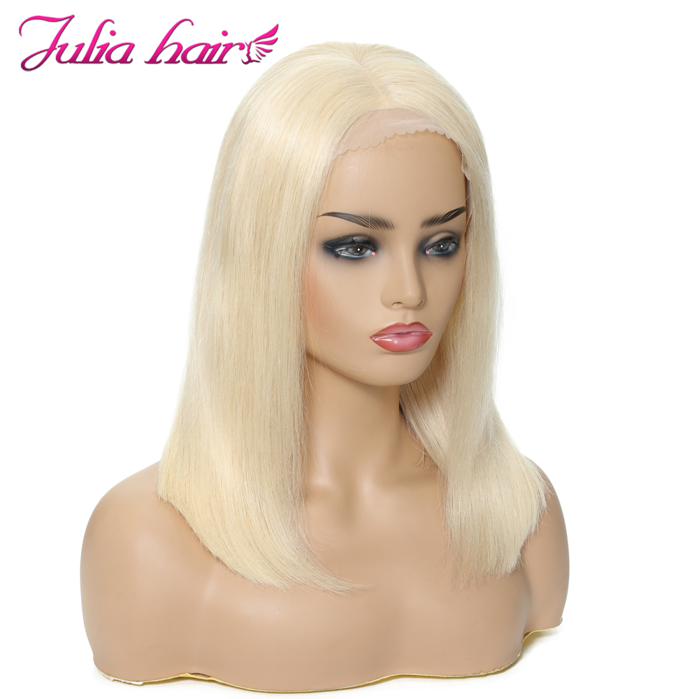 Blonde Bob Lace Front Human Hair Wigs Straight Brazilian Remy 613 Yellow Pink Green 13x4 Lace Front Short Bob Wig Pre Plucked (18)