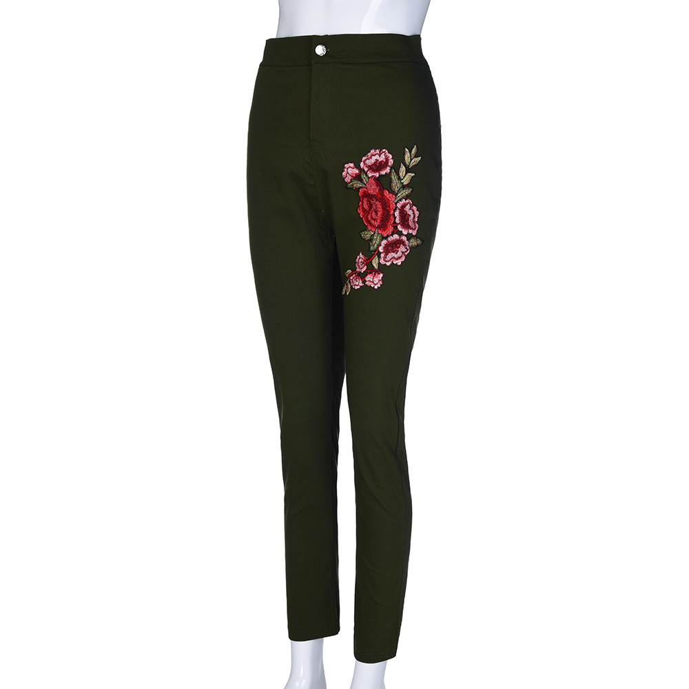 Jaycosin New Fashion Sexy Ladies Casual Skinny Floral Applique Jeans Woman Elastic High Waist Stretch Slim Pencil Trousers 10#10