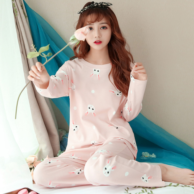 Spring And Autumn Korean-style Long Sleeve Pajamas Tracksuit Women's Cute Pink Bunny Trousers Sports Casual Two-Piece Set