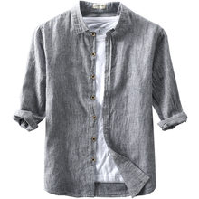 2020 new arrivel mens three quarter striped linen shirts turn down collar summer cotton shirts men spring thin causal tops male(China)