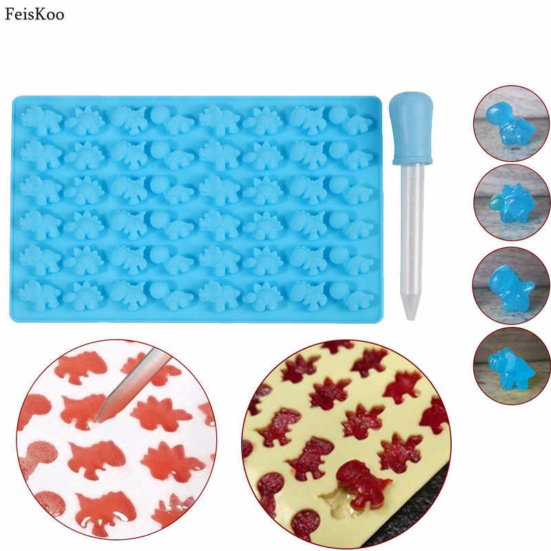 2pc/set 48 Hole Dinosaur Candy Mold Silicone Gummy Mold Mini Dinosaur Silicone Chocolate Molds Ice Cube Tray Candy Foudant Mould