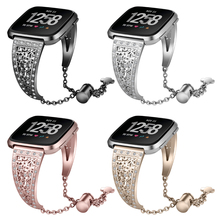 Metal Watchband For Fitbit Versa Strap Stainless Steel Diamante Wristband Bracelet Smart Watch Strap For Fitbit Versa Band watchband for fitbit versa strap genuine leather wrist smart watch band for fitbit versa band bracelet accosseries