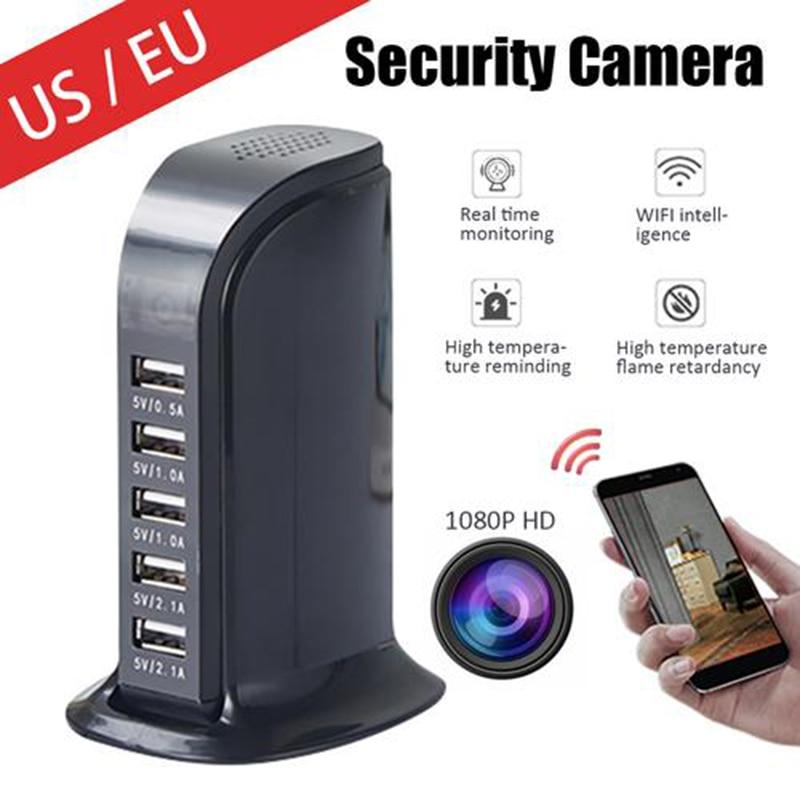 IP Camera Wireless Mini Camera 1080P HD WiFi USB Charger Camera 5 Port Plug Infrared Night Vision Security Surveillance Camera