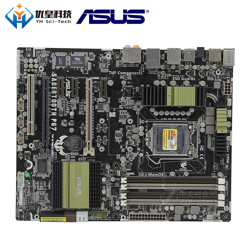 Original Used Desktop Motherboard Intel P67 Asus SaberTooth P67 Socket LGA 1155 Core I7/Core I5/Core I3 DDR3 32G ATX